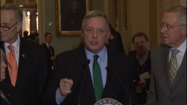 illinois senator richard durbin tells reporters that he met with syrian refugees attacks republican legislation as targeting vulnerable and if you... - シリア難民問題点の映像素材/bロール