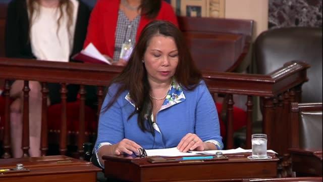 Illinois Senator Tammy Duckworth argues in floor debate on the Supreme Court nomination of Judge Brett Kavanaugh that days earlier President Donald...
