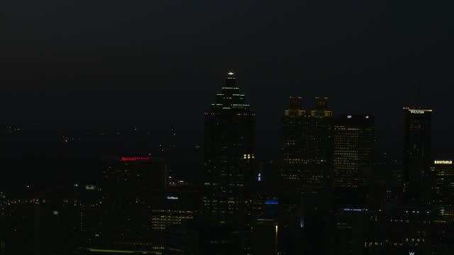 illuminated aerial night view bank america plaza atlanta - courtyard stock videos & royalty-free footage