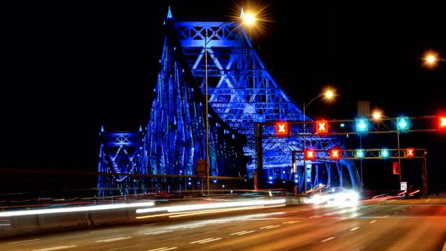 illuminated bridge at night time lapse - montréal stock videos & royalty-free footage