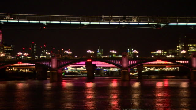 illuminated bridges over river thames - fade out stock videos & royalty-free footage
