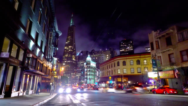 illuminated city at night. stores, malls, financial and corporate buildings in san francisco - san francisco bay stock videos & royalty-free footage