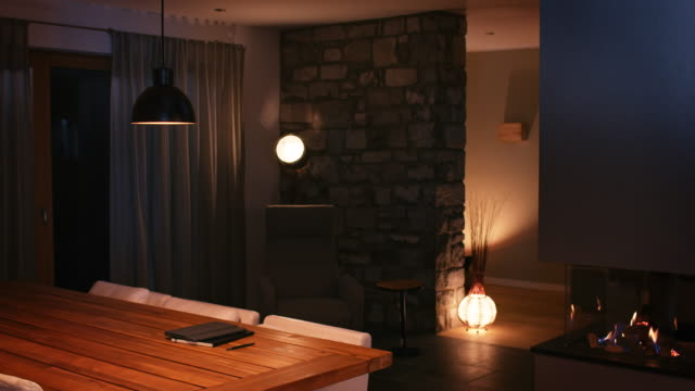 illuminated dining room at smart home - dining room stock videos & royalty-free footage