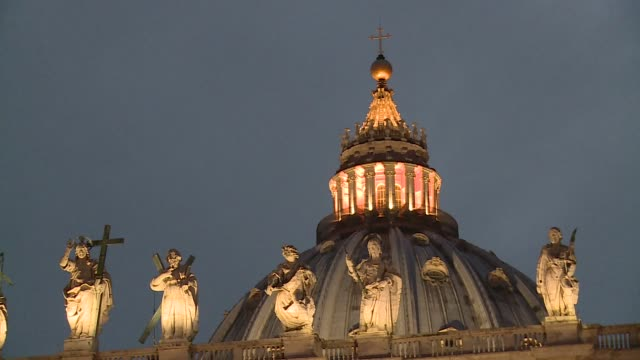 illuminated dome of st. peter's basilica - state of the vatican city stock videos & royalty-free footage