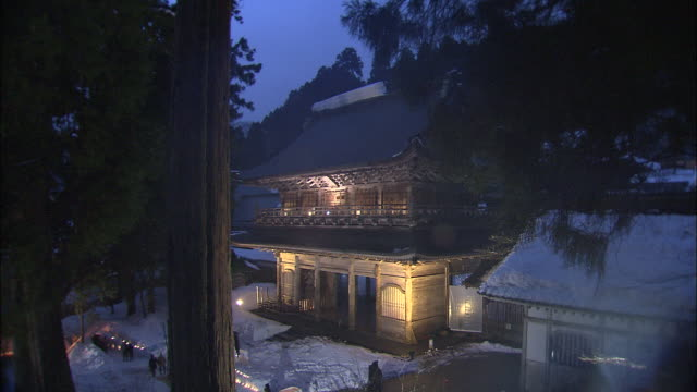 illuminated eiheiji temple, head temple of soto sect of zen buddhism, fukui - chan buddhism stock videos & royalty-free footage