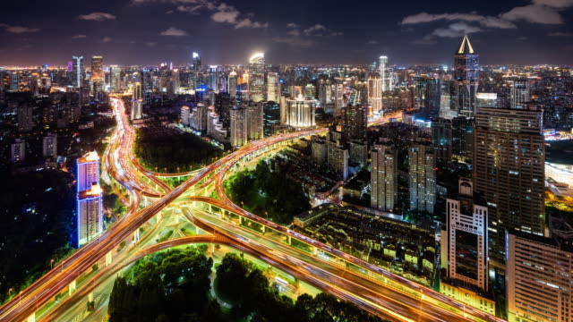 t/l ws ha illuminated elevated roads and busy traffic at night / shanghai, china - crossroad stock videos & royalty-free footage