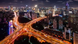 T/L WS HA ZI Illuminated elevated roads and busy traffic at night / Shanghai, China