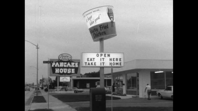 illuminated fast food restaurant signs in the usa; 1964 - advertisement stock videos & royalty-free footage
