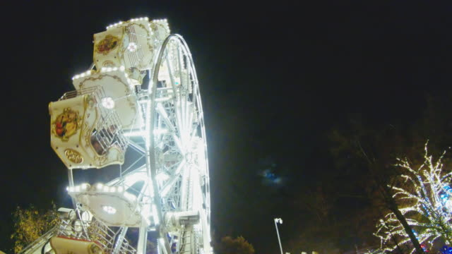 ms illuminated ferris wheel at night,prater park,vienna,austria - prater park stock videos & royalty-free footage