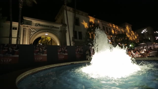 illuminated fountain in fg paramount pictures arch and grounds of the studios at paramount - paramount studios stock videos & royalty-free footage