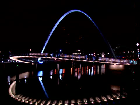 illuminated gateshead millennium bridge over tyne river - newcastle upon tyne stock videos and b-roll footage