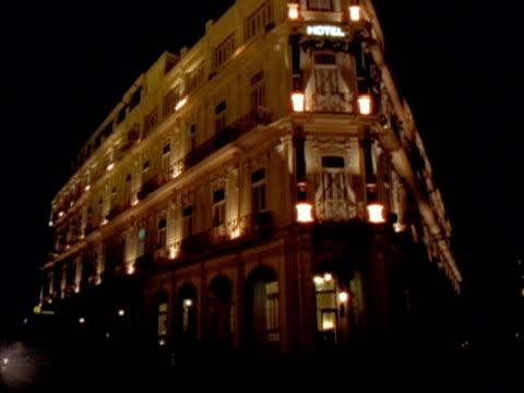 MS, Illuminated Hotel Inglaterra at night, Havana, Cuba