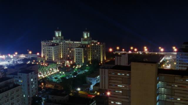 t/l, ha, ms, illuminated hotel nacional at night, havana, cuba  - fan palm tree stock videos & royalty-free footage