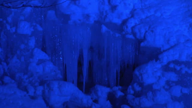 cu, illuminated icefall, aomori, japan - icefall stock videos and b-roll footage