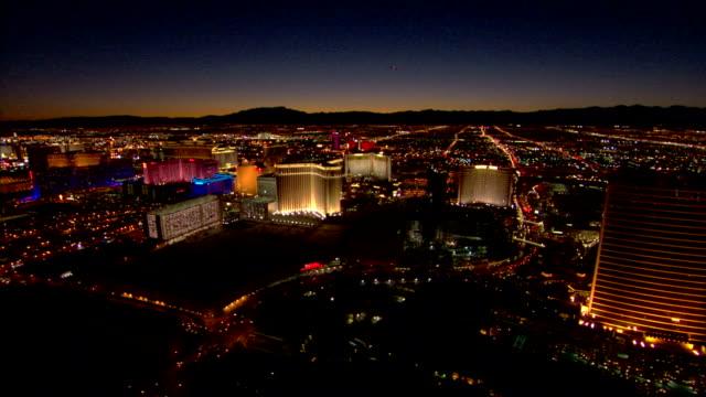 illuminated las vegas hotels - the strip las vegas stock videos & royalty-free footage