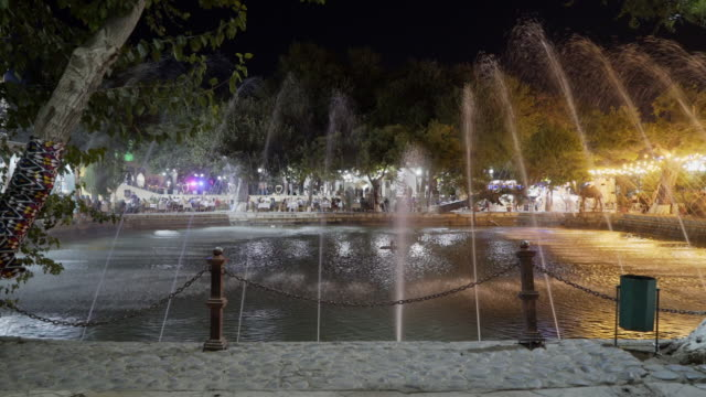 illuminated lyab-i hauz fountain - bukhara stock videos & royalty-free footage