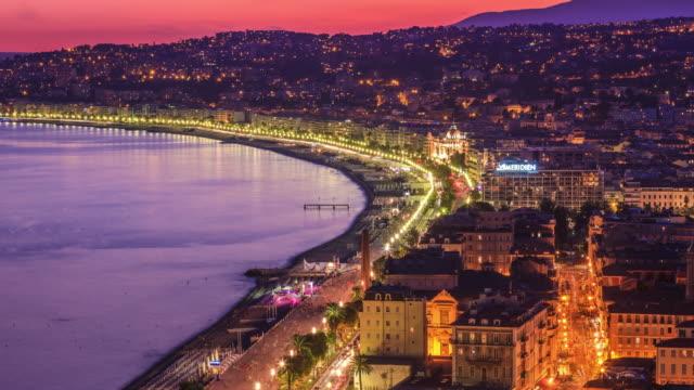 illuminated night lights beautiful nice ,sunset,france - provence alpes cote d'azur stock videos & royalty-free footage