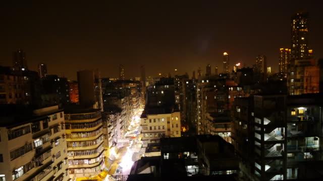 tl illuminated night market sham shui po, hong kong. - spoonfilm stock-videos und b-roll-filmmaterial