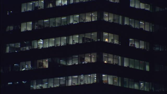 CU, Illuminated office building at night, New York City, New York, USA