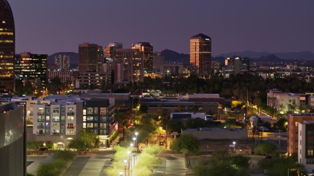 illuminated plaza in downtown phoenix at twilight - arizona stock videos & royalty-free footage