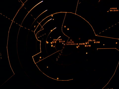 illuminated radar dial with indicator circling clockwise in aeroplane cockpit - control stock videos & royalty-free footage