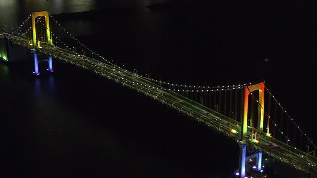 aerial, illuminated rainbow bridge, tokyo, japan - tokyo bay stock videos & royalty-free footage
