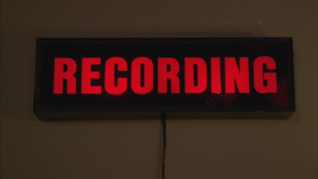 cu illuminated recording sign in studio - recording studio stock videos & royalty-free footage