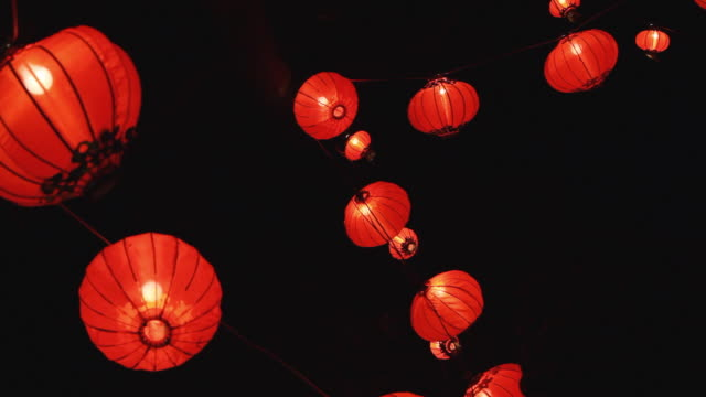 ms la illuminated red chinese lanterns hanging at chinese new year lantern festival, night / auckland, new zealand - chinese lantern festival stock videos and b-roll footage