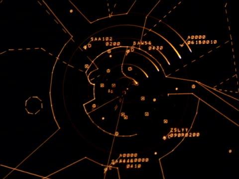 illuminated red radar screen with indicator circling clockwise in aeroplane cockpit - radar stock videos & royalty-free footage
