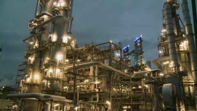 MS Illuminated refinery at dawn / Gelsenkirchen, North Rhine Westphalia, Germany