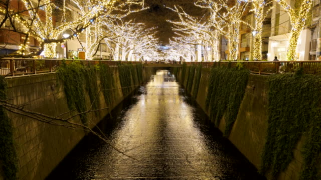 Illuminated rows of Cherry trees surround the Meguro River during the Christmas season at night, which millions of LED lights reflect to river from both side of riverbank at Meguro Tokyo Japan on December 20 2017.