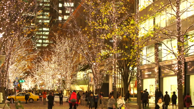 Illuminated rows of trees stand along Marunouchi Naka-Dori Street for Christmas season, which street is surrounded by many shops and boutiques in high-rise Office Buildings at Marunouchi Chiyoda Tokyo Japan on December 13 2017.