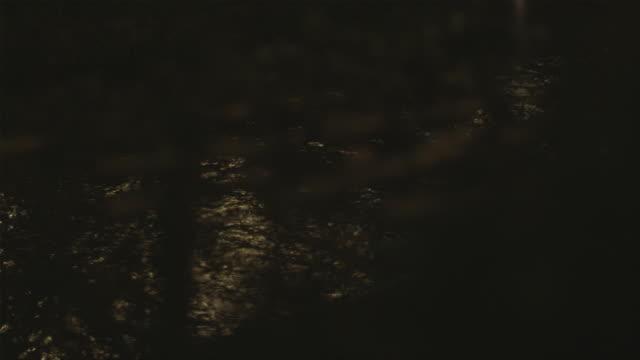 vídeos de stock, filmes e b-roll de ms tu illuminated tea house by canal at night, gion, kyoto, japan - washitsu