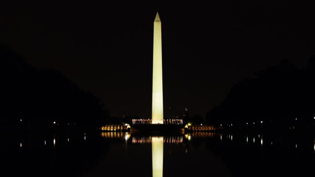 t/l ws illuminated washington monument reflected in water, washington d.c, usa - washington monument washington dc stock videos & royalty-free footage