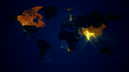Illuminated World Map Network Connections Communication loop. Countries light up.