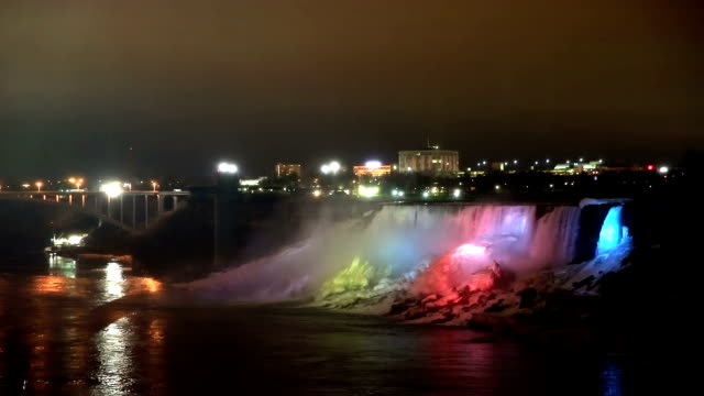 hd: illumination light of american niagara falls, ontario, canada - niagara falls stock videos and b-roll footage