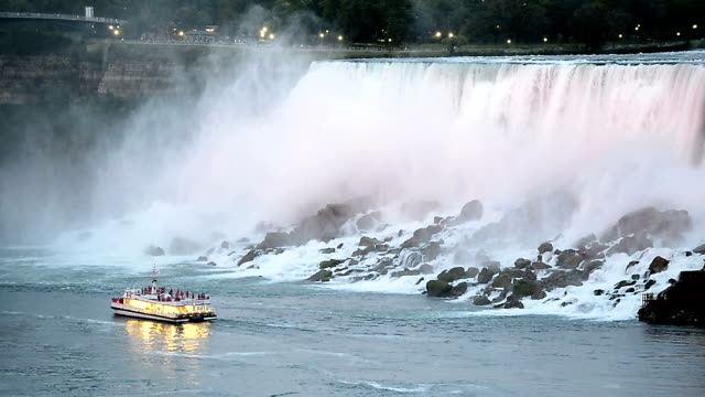 illumination light of american niagara falls, ontario, canada - niagara falls video stock e b–roll