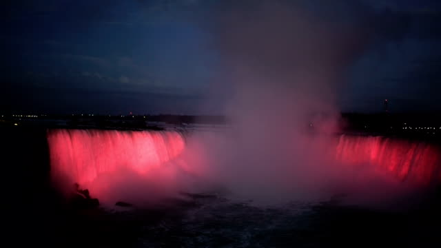 illumination light of american niagara falls, ontario, canada - horseshoe falls niagara falls stock videos and b-roll footage