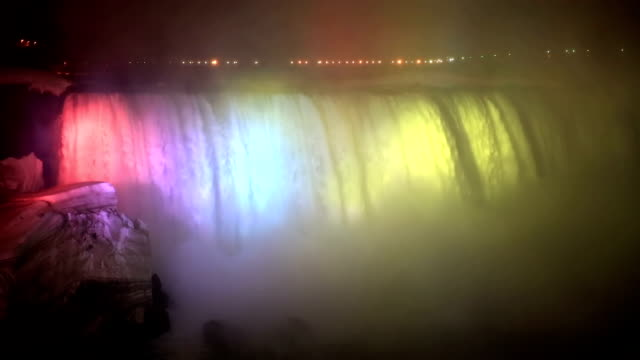 HD: Illumination light of Horseshoe Niagara Falls, Ontario, Canada