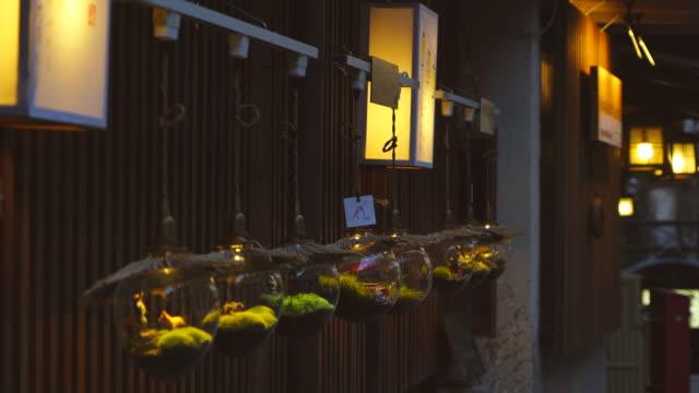 illuminations burn to the outer wall of the ryokan (traditionaljapaneseinn) at shibu onsen (shibu hot spring) yamanouchi-machi, nagano japan on feb. 17 2019. - ryokan stock videos and b-roll footage