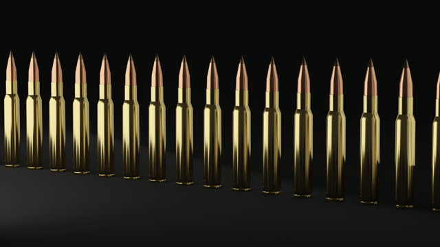 3d illustrated animation of metal rifle bullets falling down. - machine gun stock videos & royalty-free footage