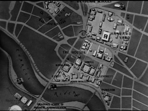 Illustrated campus map including Charles River The Houses Harvard Yard Radcliff College