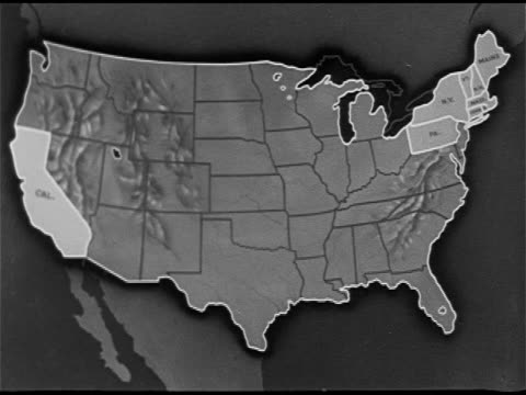 stockvideo's en b-roll-footage met illustrated map with california and new england highlighted, new england states moving close to california. - reportage afbeelding