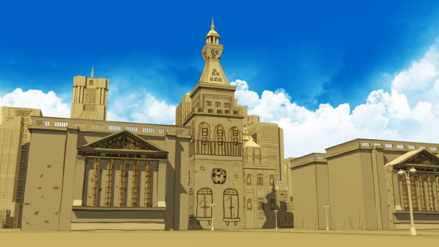 3D illustrated Style City Animation