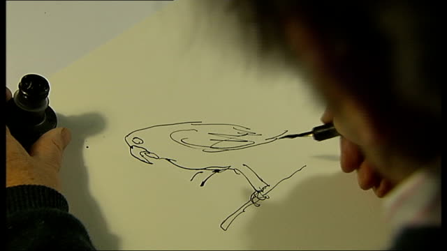 new year's honours: quentin blake; england: london: int various set-ups of sir quentin blake drawing with pen and ink at desk - pen and ink stock videos & royalty-free footage