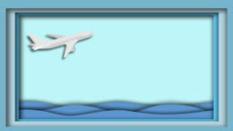Illustration of animation plane [LOOP] The magic of paper folding, flying through the sea