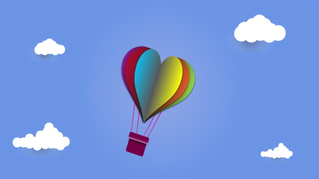 illustration of love, pink heart hot air balloons flying in the blue sky, paper art style - poster template stock videos and b-roll footage
