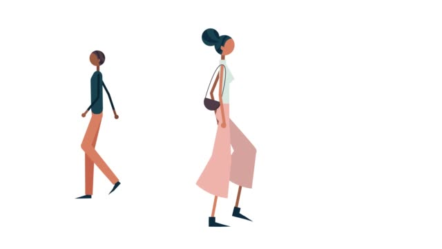 illustration of people passing on the street - illustration stock videos & royalty-free footage