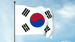 3D Illustration of The flag of South Korea, the Taegukgi, has three parts: a white rectangular background, a red and blue Taegeuk in its centre, and four black trigrams, one in each corner.
