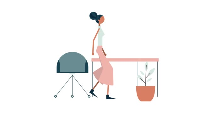 illustration of young african american businesswoman - illustration stock videos & royalty-free footage